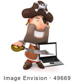 #49669 Royalty-Free (Rf) Illustration Of A 3d Pirate Character Holding A Laptop - Pose 2
