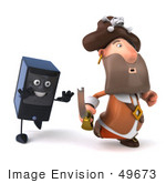 #49673 Royalty-Free (Rf) Illustration Of A 3d Computer Tower Character Chasing A Pirate