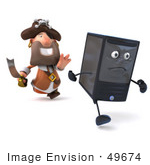 #49674 Royalty-Free (Rf) Illustration Of A 3d Pirate Character Chasing A Computer