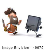 #49675 Royalty-Free (Rf) Illustration Of A 3d Pirate Character Chasing After A Computer