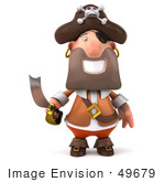 #49679 Royalty-Free (Rf) Illustration Of A 3d Pirate Holding A Sword - Pose 1