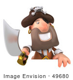 #49680 Royalty-Free (Rf) Illustration Of A 3d Pirate Holding His Sword Over A Blank Sign