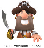 #49681 Royalty-Free (Rf) Illustration Of A 3d Pirate With A Sword Holding A Blank Sign