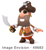 #49683 Royalty-Free (Rf) Illustration Of A 3d Pirate Holding A Sword - Pose 2