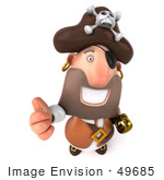 #49685 Royalty-Free (Rf) Illustration Of A 3d Pirate Giving The Thumbs Up - Pose 2