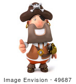 #49687 Royalty-Free (Rf) Illustration Of A 3d Pirate Giving The Thumbs Up - Pose 1