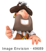 #49689 Royalty-Free (Rf) Illustration Of A 3d Pirate Holding His Thumb Up And Standing Behind A Blank Sign