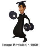 #49691 Royalty-Free (Rf) Illustration Of A 3d College Graduate Weight Lifting - Version 2