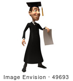 #49693 Royalty-Free (Rf) Illustration Of A 3d College Graduate Holding A Blank Diploma - Version 2