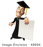 #49694 Royalty-Free (Rf) Illustration Of A 3d College Graduate Holding A Blank Diploma - Version 3