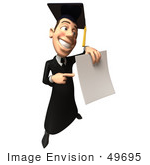 #49695 Royalty-Free (Rf) Illustration Of A 3d College Graduate Holding A Blank Diploma - Version 5