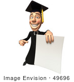 #49696 Royalty-Free (Rf) Illustration Of A 3d College Graduate Holding A Blank Diploma - Version 4