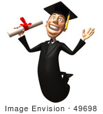 #49698 Royalty-Free (Rf) Illustration Of A 3d College Graduate Jumping With A Rolled Diploma - Version 1