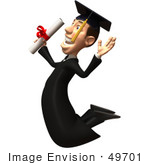 #49701 Royalty-Free (Rf) Illustration Of A 3d College Graduate Jumping With A Rolled Diploma - Version 2
