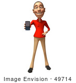 #49714 Royalty-Free (Rf) Illustration Of A 3d White Man Using A Cell Phone - Version 1