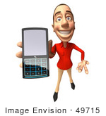 #49715 Royalty-Free (Rf) Illustration Of A 3d White Man Using A Cell Phone - Version 4