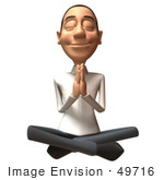 #49716 Royalty-Free (Rf) Illustration Of A 3d Young White Man Meditating - Version 3
