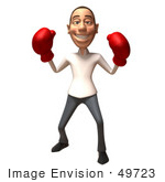 #49723 Royalty-Free (Rf) Illustration Of A 3d Young White Man Boxing - Version 6