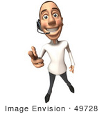 #49728 Royalty-Free (Rf) Illustration Of A 3d Young White Man Wearing A Headset - Version 1