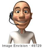 #49729 Royalty-Free (Rf) Illustration Of A 3d Young White Man Wearing A Headset - Version 2