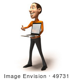 #49731 Royalty-Free (Rf) Illustration Of A 3d White Man Holding A Laptop - Version 2