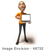 #49732 Royalty-Free (Rf) Illustration Of A 3d White Man Holding A Laptop - Version 3