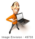 #49733 Royalty-Free (Rf) Illustration Of A 3d White Man Holding A Laptop - Version 4