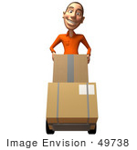 #49738 Royalty-Free (Rf) Illustration Of A 3d White Man Moving Boxes On A Dolly - Version 1