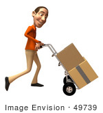 #49739 Royalty-Free (Rf) Illustration Of A 3d White Man Moving Boxes On A Dolly - Version 3