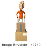#49740 Royalty-Free (Rf) Illustration Of A 3d White Man Moving Boxes On A Dolly - Version 4