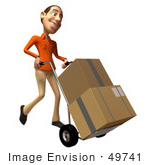 #49741 Royalty-Free (Rf) Illustration Of A 3d White Man Moving Boxes On A Dolly - Version 2
