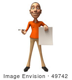 #49742 Royalty-Free (Rf) Illustration Of A 3d White Man Holding A Contract - Version 1