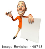 #49743 Royalty-Free (Rf) Illustration Of A 3d White Man Holding A Contract - Version 4