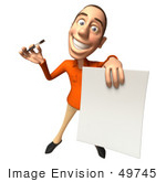 #49745 Royalty-Free (Rf) Illustration Of A 3d White Man Holding A Contract - Version 3
