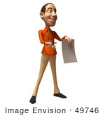 #49746 Royalty-Free (Rf) Illustration Of A 3d White Man Holding A Contract - Version 2