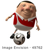 #49762 Royalty-Free (Rf) Illustration Of A 3d Chubby Soccer Player Kicking A Ball - Version 1