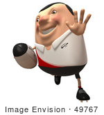 #49767 Royalty-Free (Rf) Illustration Of A 3d Chubby Rugby Mascot Running - Version 2