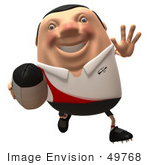 #49768 Royalty-Free (Rf) Illustration Of A 3d Chubby Rugby Mascot Running - Version 1