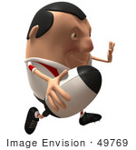 #49769 Royalty-Free (Rf) Illustration Of A 3d Chubby Rugby Mascot Running - Version 3