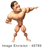 #49789 Royalty-Free (Rf) Illustration Of A 3d Bodybuilder Mascot Holding One Arm Out - Version 1