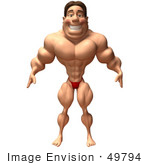 #49794 Royalty-Free (Rf) Illustration Of A 3d Bodybuilder Mascot Standing - Version 1