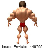 #49795 Royalty-Free (Rf) Illustration Of A 3d Bodybuilder Mascot Standing - Version 3