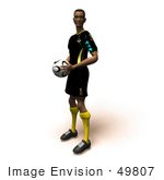 #49807 Royalty-Free (Rf) Illustration Of A 3d Athletic Man Holding A Soccer Ball - Version 4