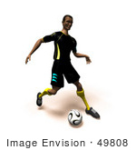 #49808 Royalty-Free (Rf) Illustration Of A 3d Athletic Man Kicking A Soccer Ball - Version 3