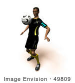 #49809 Royalty-Free (Rf) Illustration Of A 3d Athletic Man Bouncing A Soccer Ball Off Of His Chest- Version 1