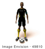 #49810 Royalty-Free (Rf) Illustration Of A 3d Athletic Man Standing With A Soccer Ball At His Feet- Version 1