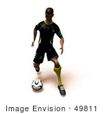 #49811 Royalty-Free (Rf) Illustration Of A 3d Athletic Man Kicking A Soccer Ball - Version 4