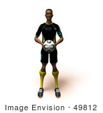#49812 Royalty-Free (Rf) Illustration Of A 3d Athletic Man Holding A Soccer Ball - Version 3