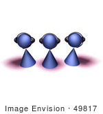 #49817 Royalty-Free (Rf) Illustration Of A Group Of Three 3d Purple Avatar Customer Service People - Version 4