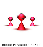 #49819 Royalty-Free (Rf) Illustration Of A Group Of Three 3d Pink Avatar Customer Service Characters